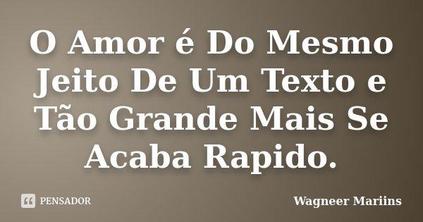 O Amor é Do Mesmo Jeito De Um Texto e Tão Grande Mais Se Acaba Rapido.... Frase de Wagneer Mariins.