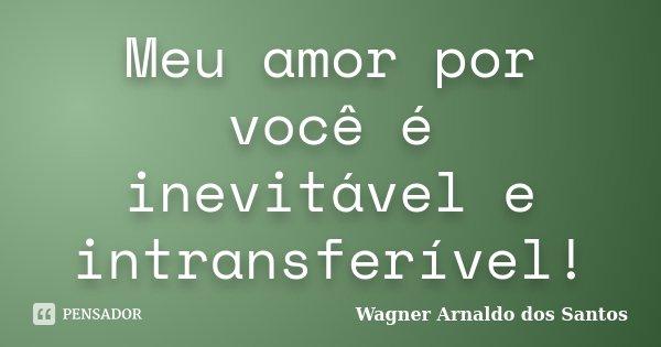 Meu amor por você é inevitável e intransferível!... Frase de Wagner Arnaldo dos Santos.