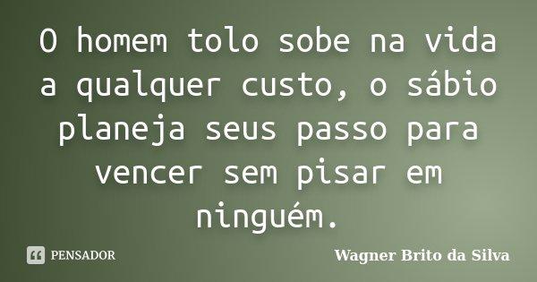 O homem tolo sobe na vida a qualquer custo, o sábio planeja seus passo para vencer sem pisar em ninguém.... Frase de Wagner Brito da Silva.