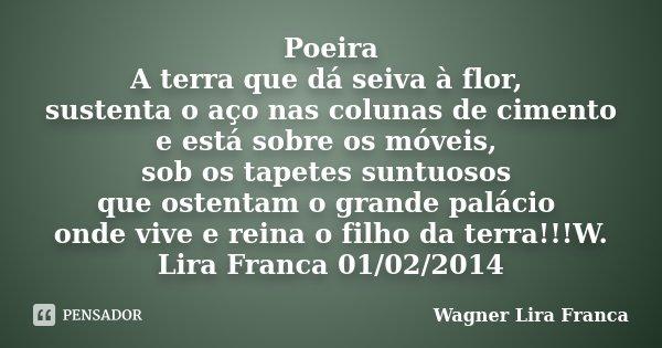 Poeira A terra que dá seiva à flor, sustenta o aço nas colunas de cimento e está sobre os móveis, sob os tapetes suntuosos que ostentam o grande palácio onde vi... Frase de Wagner Lira Franca.