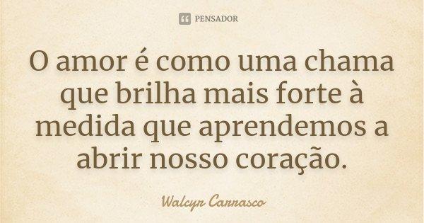 O amor é como uma chama que brilha mais forte à medida que aprendemos a abrir nosso coração.... Frase de Walcyr Carrasco.