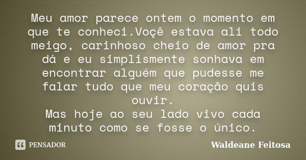 Meu amor parece ontem o momento em que te conheci.Voçê estava ali todo meigo, carinhoso cheio de amor pra dá e eu simplismente sonhava em encontrar alguém que p... Frase de Waldeane Feitosa.