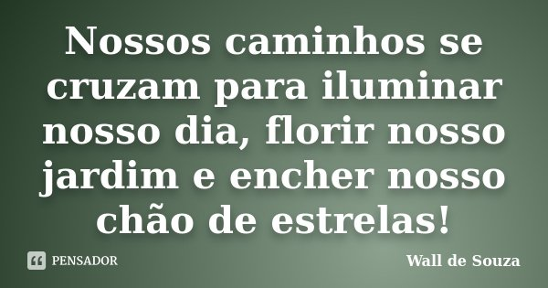 Nossos caminhos se cruzam para iluminar nosso dia, florir nosso jardim e encher nosso chão de estrelas!... Frase de Wall de Souza.
