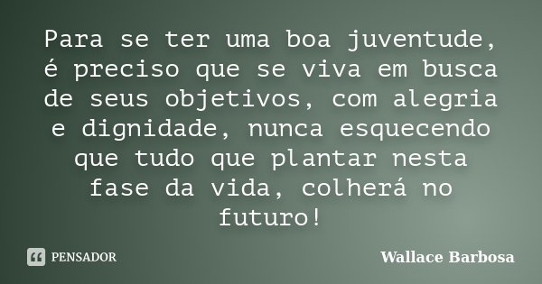 Para se ter uma boa juventude, é preciso que se viva em busca de seus objetivos, com alegria e dignidade, nunca esquecendo que tudo que plantar nesta fase da vi... Frase de Wallace Barbosa.