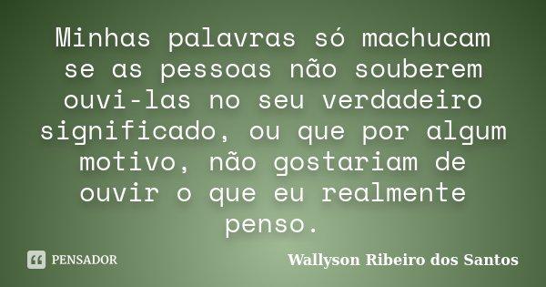 Minhas palavras só machucam se as pessoas não souberem ouvi-las no seu verdadeiro significado, ou que por algum motivo, não gostariam de ouvir o que eu realment... Frase de Wallyson Ribeiro dos Santos.