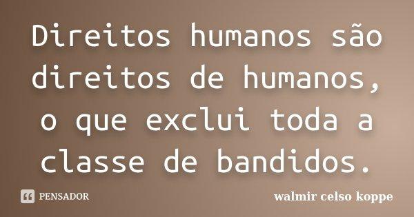 Direitos humanos são direitos de humanos, o que exclui toda a classe de bandidos.... Frase de Walmir Celso Koppe.