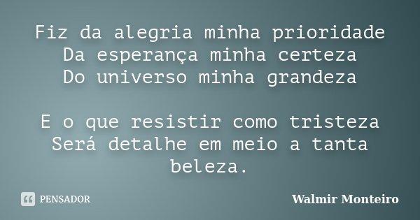 Fiz da alegria minha prioridade Da esperança minha certeza Do universo minha grandeza E o que resistir como tristeza Será detalhe em meio a tanta beleza.... Frase de Walmir Monteiro.