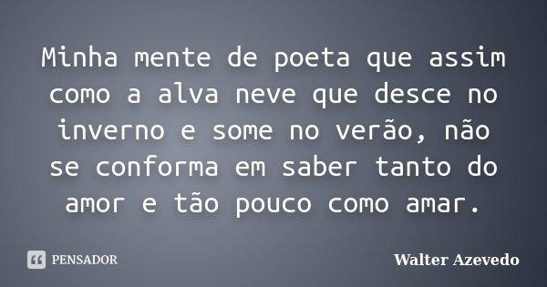Minha mente de poeta que assim como a alva neve que desce no inverno e some no verão, não se conforma em saber tanto do amor e tão pouco como amar.... Frase de Walter Azevedo.