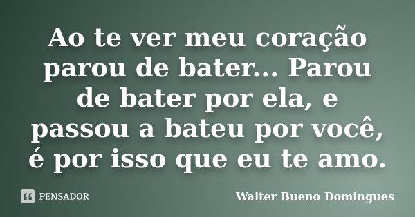 Ao te ver meu coração parou de bater... Parou de bater por ela, e passou a bateu por você, é por isso que eu te amo.... Frase de Walter Bueno Domingues.