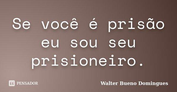 Se você é prisão eu sou seu prisioneiro.... Frase de Walter Bueno Domingues.