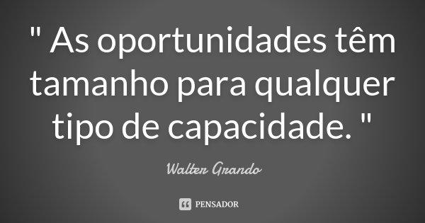 """"""" As oportunidades têm tamanho para qualquer tipo de capacidade. """"... Frase de Walter Grando."""
