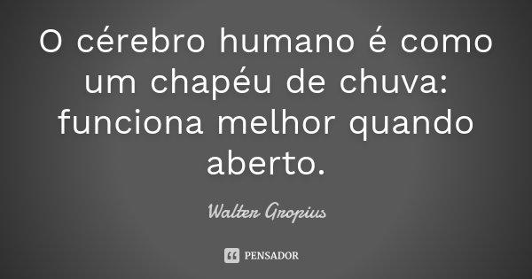 O cérebro humano é como um chapéu de chuva: funciona melhor quando aberto.... Frase de Walter Gropius.