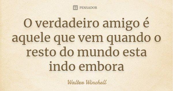 O verdadeiro amigo é aquele que vem quando o resto do mundo esta indo embora... Frase de Walter Winchell.
