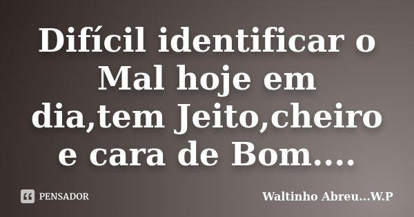 Difícil identificar o Mal hoje em dia,tem Jeito,cheiro e cara de Bom....... Frase de Waltinho Abreu...W.P.