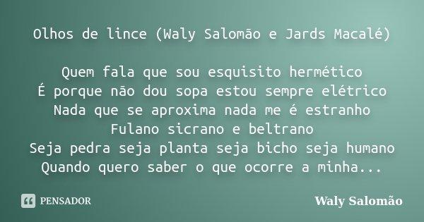 Olhos de lince (Waly Salomão e Jards Macalé) Quem fala que sou esquisito hermético É porque não dou sopa estou sempre elétrico Nada que se aproxima nada me é es... Frase de Waly Salomão.