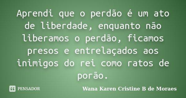 Aprendi que o perdão é um ato de liberdade, enquanto não liberamos o perdão, ficamos presos e entrelaçados aos inimigos do rei como ratos de porão.... Frase de Wana Karen Cristine B. de Moraes.