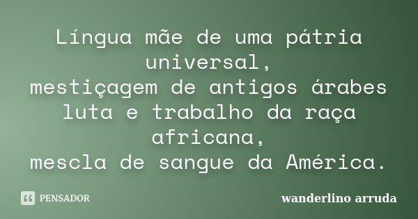 Língua mãe de uma pátria universal, mestiçagem de antigos árabes luta e trabalho da raça africana, mescla de sangue da América.... Frase de Wanderlino Arruda.
