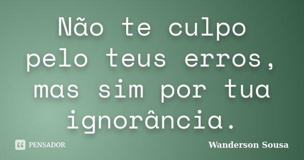 Não te culpo pelo teus erros, mas sim por tua ignorância.... Frase de Wanderson Sousa.