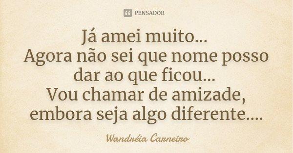 Já amei muito... Agora não sei que nome posso dar ao que ficou... Vou chamar de amizade, embora seja algo diferente....... Frase de Wandreia Carneiro.