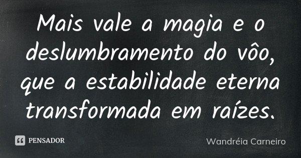 Mais vale a magia e o deslumbramento do vôo, que a estabilidade eterna transformada em raízes.... Frase de Wandreia Carneiro.