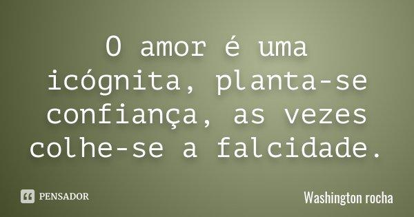 O amor é uma icógnita, planta-se confiança, as vezes colhe-se a falcidade.... Frase de Washington rocha.