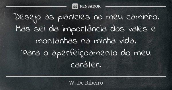 Desejo as planícies no meu caminho. Mas sei da importância dos vales e montanhas na minha vida. Para o aperfeiçoamento do meu caráter.... Frase de W. De Ribeiro.