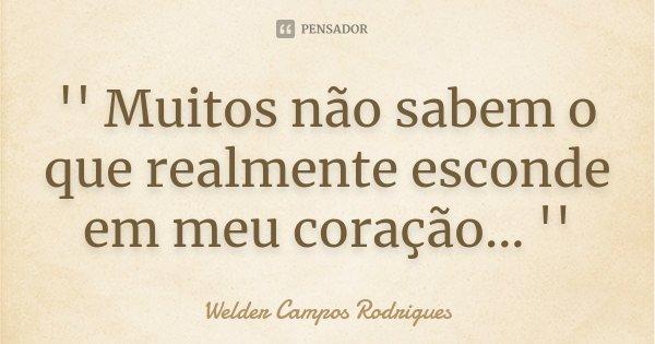 '' Muitos não sabem o que realmente esconde em meu coração... ''... Frase de Welder Campos Rodrigues.