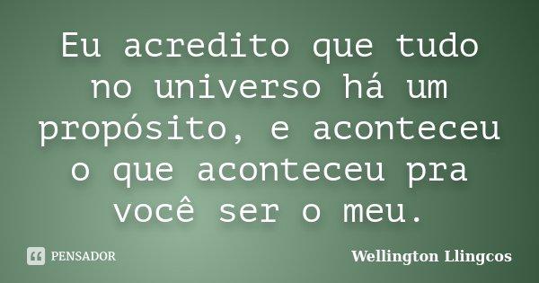 Eu acredito que tudo no universo há um propósito, e aconteceu o que aconteceu pra você ser o meu.... Frase de Wellington Llingcos.