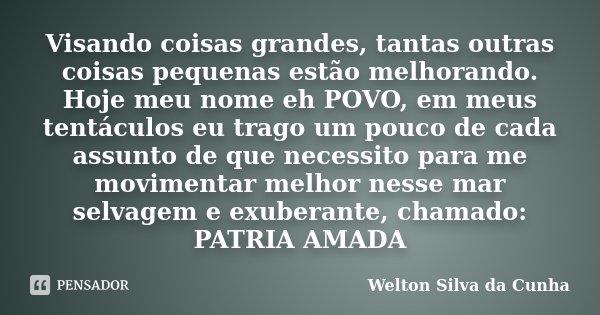 Visando coisas grandes, tantas outras coisas pequenas estão melhorando. Hoje meu nome eh POVO, em meus tentáculos eu trago um pouco de cada assunto de que neces... Frase de Welton Silva da Cunha.