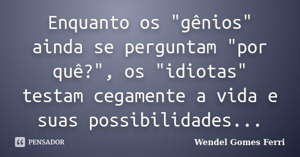 """Enquanto os """"gênios"""" ainda se perguntam """"por quê?"""", os """"idiotas"""" testam cegamente a vida e suas possibilidades...... Frase de Wendel Gomes Ferri."""