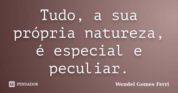 Tudo, a sua própria natureza, é especial e peculiar.... Frase de Wendel Gomes Ferri.