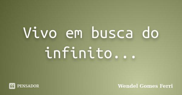 Vivo em busca do infinito...... Frase de Wendel Gomes Ferri.