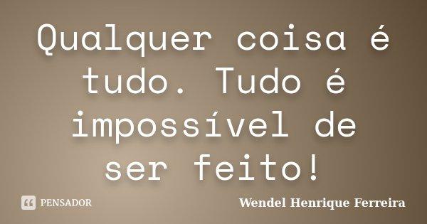 Qualquer coisa é tudo. Tudo é impossível de ser feito!... Frase de Wendel Henrique Ferreira.