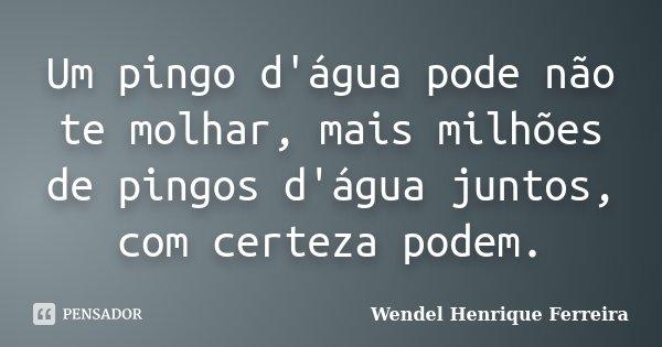 Um pingo d'água pode não te molhar, mais milhões de pingos d'água juntos, com certeza podem.... Frase de Wendel Henrique Ferreira.
