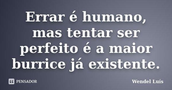 Errar é humano, mas tentar ser perfeito é a maior burrice já existente.... Frase de Wendel Luís.