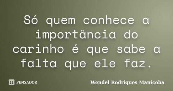 Só quem conhece a importância do carinho é que sabe a falta que ele faz.... Frase de Wendel Rodrigues Maniçoba.