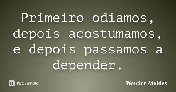 Primeiro odiamos, depois acostumamos, e depois passamos a depender.... Frase de Wender Ataídes.