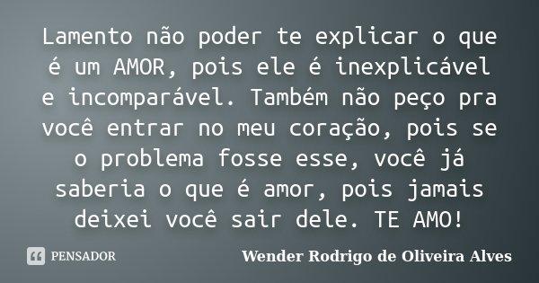 Lamento não poder te explicar o que é um AMOR, pois ele é inexplicável e incomparável. Também não peço pra você entrar no meu coração, pois se o problema fosse ... Frase de Wender Rodrigo de Oliveira Alves.