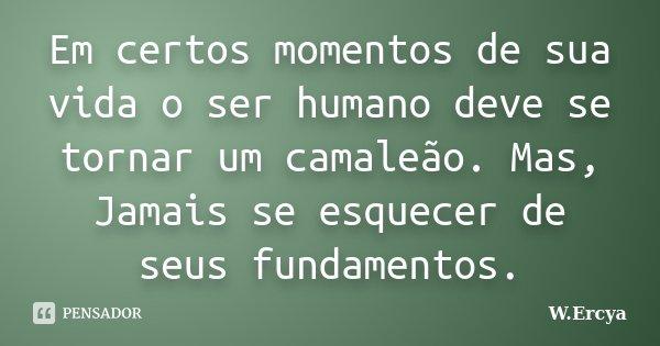 Em certos momentos de sua vida o ser humano deve se tornar um camaleão. Mas, Jamais se esquecer de seus fundamentos.... Frase de W.Ercya.