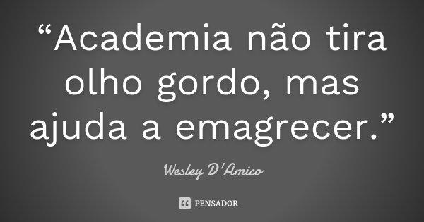 """""""Academia não tira olho gordo, mas ajuda a emagrecer.""""... Frase de Wesley D'Amico."""