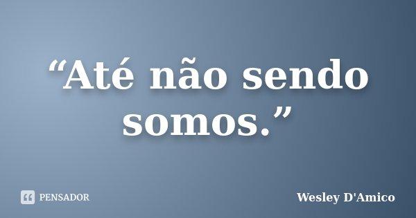 """""""Até não sendo somos.""""... Frase de Wesley D'Amico."""