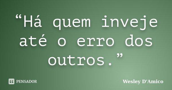 """""""Há quem inveje até o erro dos outros.""""... Frase de Wesley D'Amico."""