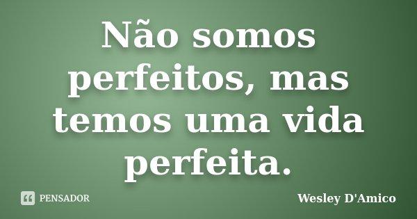 Não somos perfeitos, mas temos uma vida perfeita.... Frase de Wesley D'Amico.