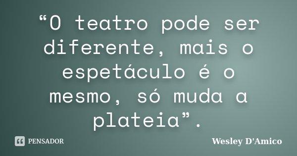 """""""O teatro pode ser diferente, mais o espetáculo é o mesmo, só muda a plateia"""".... Frase de Wesley D'Amico."""