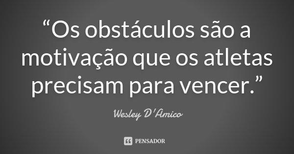 """""""Os obstáculos são a motivação que os atletas precisam para vencer.""""... Frase de Wesley D'Amico."""