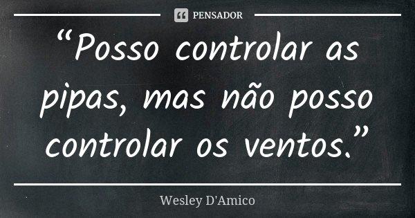 """""""Posso controlar as pipas, mas não posso controlar os ventos.""""... Frase de Wesley D'Amico."""