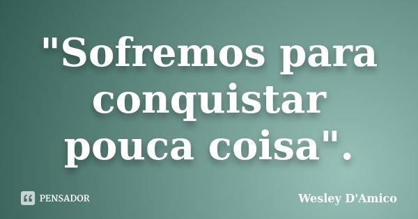 """Sofremos para conquistar pouca coisa"".... Frase de Wesley D'Amico."