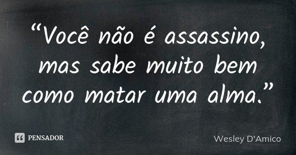 """""""Você não é assassino, mas sabe muito bem como matar uma alma.""""... Frase de Wesley D'Amico."""