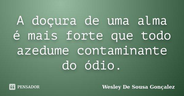 A doçura de uma alma é mais forte que todo azedume contaminante do ódio.... Frase de Wesley De Sousa Gonçalez.