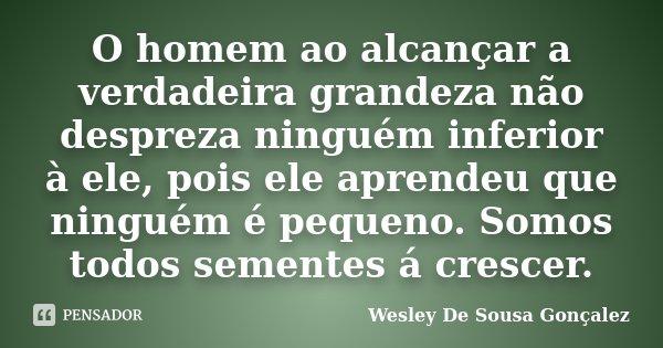 O homem ao alcançar a verdadeira grandeza não despreza ninguém inferior à ele, pois ele aprendeu que ninguém é pequeno. Somos todos sementes á crescer.... Frase de Wesley De Sousa Gonçalez.